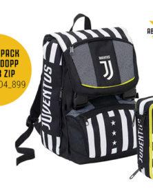 Schoolpack Juventus SEVEN 2020 : Zaino sdoppiabile big + Astuccio a 3 cerniere completo + Orologio